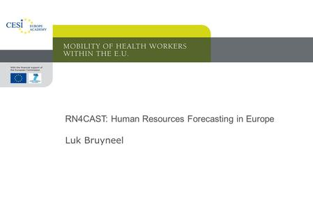 RN4CAST: Human Resources Forecasting in Europe Luk Bruyneel.