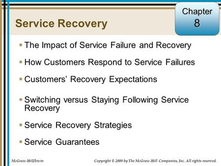 8 Service Recovery Chapter The Impact of Service Failure and Recovery