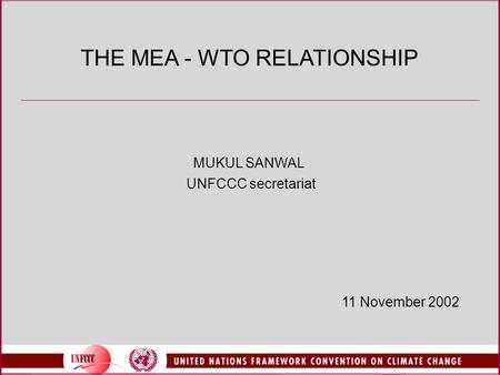 THE MEA - WTO RELATIONSHIP MUKUL SANWAL UNFCCC secretariat 11 November 2002.