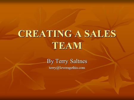 CREATING A SALES TEAM By Terry Saltnes