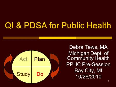 QI & PDSA for Public Health Debra Tews, MA Michigan Dept. of Community Health PPHC Pre-Session Bay City, MI 10/26/2010 Plan DoStudy Act 1.