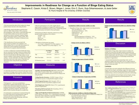 Improvements in Readiness for Change as a Function of Binge Eating Status Stephanie E. Cassin, Krista E. Brown, Megan I. Jones, Erin C. Dunn, Suja Srikameswaran,