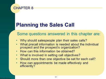 Planning the Sales Call