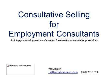 Consultative Selling for Employment Consultants Building job development excellence for increased employment opportunities Val Morgan