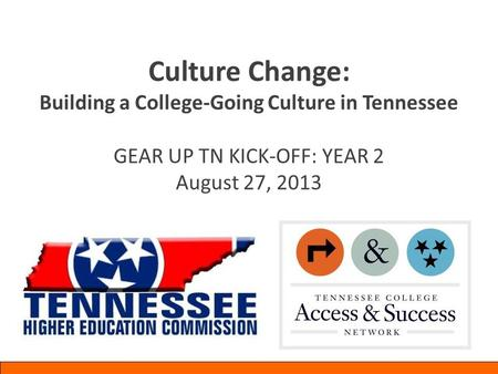 Culture Change: Building a College-Going Culture in Tennessee GEAR UP TN KICK-OFF: YEAR 2 August 27, 2013.
