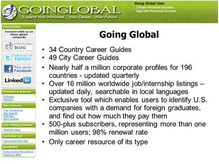 Going Global 34 Country Career Guides 49 City Career Guides Nearly half a million corporate profiles for 196 countries - updated quarterly Over 16 million.