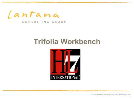 © 2011 Lantana Consulting Group, www.lantanagroup.com 1 Trifolia Workbench HL7 Release.