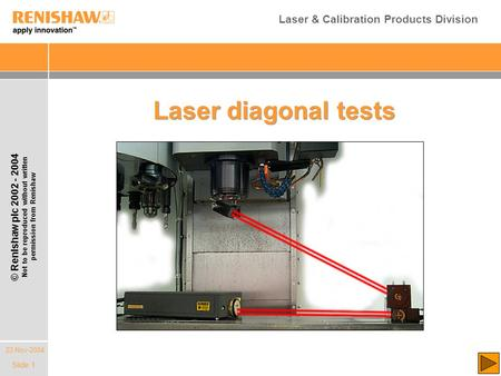 22-Nov-2004 © Renishaw plc 2002 - 2004 Not to be reproduced without written permission from Renishaw Laser & Calibration Products Division Slide 1 Laser.