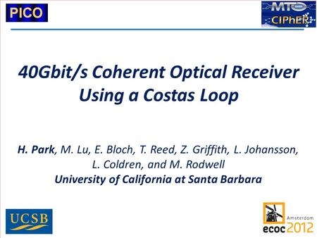40Gbit/s Coherent Optical Receiver Using a Costas Loop