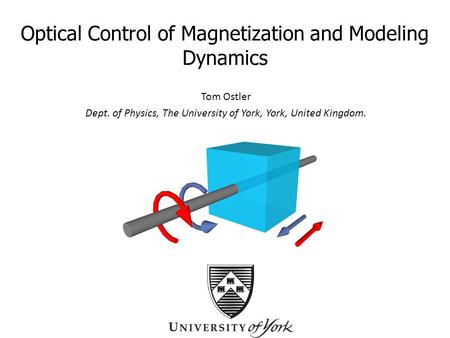 Optical Control of Magnetization and Modeling Dynamics Tom Ostler Dept. of Physics, The University of York, York, United Kingdom.