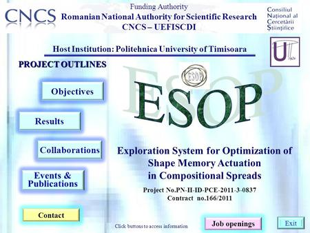 Host Institution: Politehnica University of Timisoara PROJECT OUTLINES Objectives Contact Results Collaborations Exploration System for Optimization of.