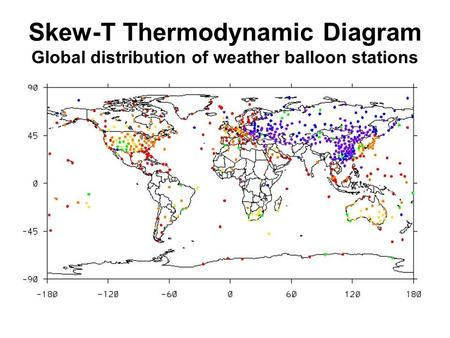 Skew-T Thermodynamic Diagram Global distribution of weather balloon stations.