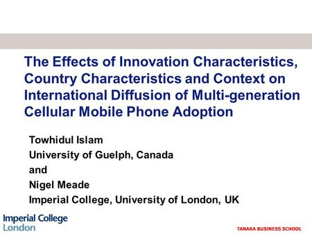 The Effects of Innovation Characteristics, Country Characteristics and Context on International Diffusion of Multi-generation Cellular Mobile Phone Adoption.