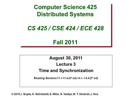 Computer Science 425 Distributed Systems CS 425 / CSE 424 / ECE 428 Fall 2011 August 30, 2011 Lecture 3 Time and Synchronization Reading: Sections 11.1-11.4.
