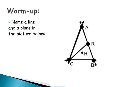  Name a line and a plane in the picture below:. LEQ: What are segments and rays and how are they named? What are parallel lines and planes?