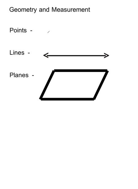 Points - Lines - Planes - Geometry and Measurement.