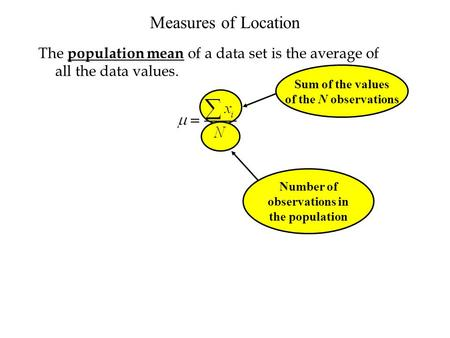 Number of observations in the population The population mean of a data set is the average of all the data values. Sum of the values of the N observations.