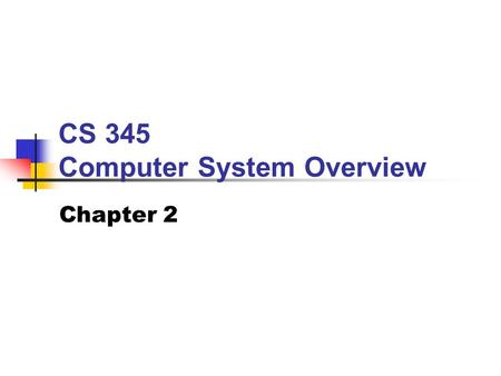 CS 345 Computer System Overview Chapter 2. BYU CS 345Chapter 2: OS Overview2 Topics to Cover… OS Objectives OS Services Resource Manager Evolution Achievements.