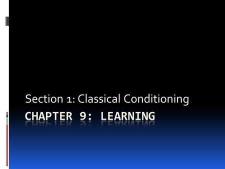 Section 1: Classical Conditioning.  PDN: Read page 284-285  What is the best way to learn?