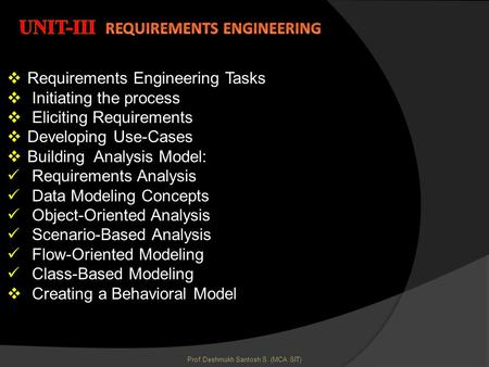 Unit-III Requirements Engineering