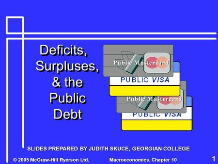 © 2005 McGraw-Hill Ryerson Ltd. Macroeconomics, Chapter 10 1 Deficits, Surpluses, & the Public Debt SLIDES PREPARED BY JUDITH SKUCE, GEORGIAN COLLEGE.
