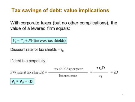 1 Tax savings of debt: value implications With corporate taxes (but no other complications), the value of a levered firm equals: V L = V U + PV (int erest.
