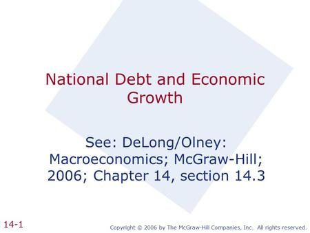 Copyright © 2006 by The McGraw-Hill Companies, Inc. All rights reserved. 14-1 National Debt and Economic Growth See: DeLong/Olney: Macroeconomics; McGraw-Hill;