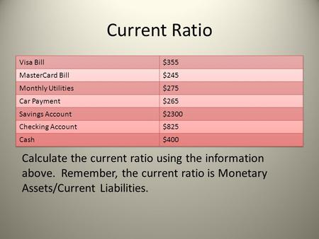 Current Ratio Calculate the current ratio using the information above. Remember, the current ratio is Monetary Assets/Current Liabilities.