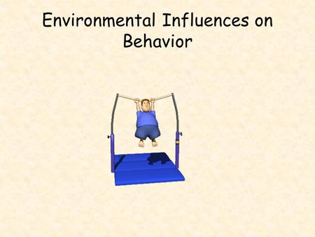 Environmental Influences on Behavior. Types of Environmental Influences ParentsPrenatalExperience Peer InfluenceCultureGender.