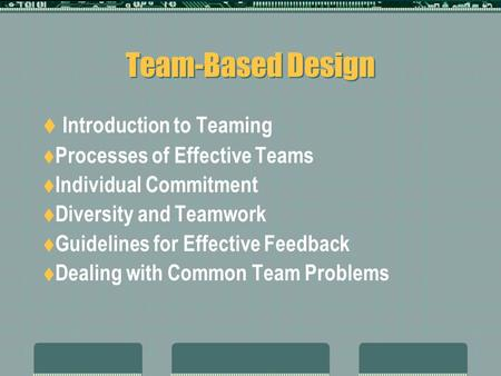 Team-Based Design  Introduction to Teaming  Processes of Effective Teams  Individual Commitment  Diversity and Teamwork  Guidelines for Effective.
