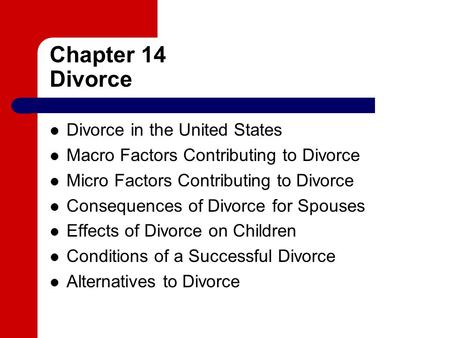 divorce in the united states Several studies have looked at the effect of no-fault divorce on divorce rates in the united states the studies typically find an increase in the short-term rate, but little long-term causal relationship.
