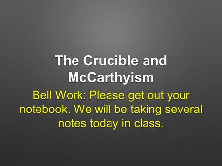 thesis statment - mccarthyism Free crucible mccarthyism papers, essays, and research papers.