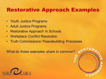 Restorative Approach Examples Youth Justice Programs Adult Justice Programs Restorative Approach in Schools Workplace Conflict Resolution Truth Commissions/
