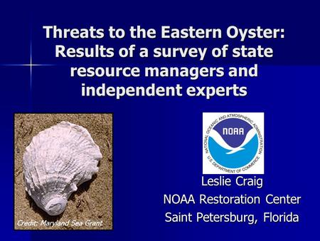 Threats to the Eastern Oyster: Results of a survey of state resource managers and independent experts Leslie Craig NOAA Restoration Center Saint Petersburg,
