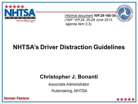 Human Factors Christopher J. Bonanti Associate Administrator Rulemaking, NHTSA NHTSA's Driver Distraction Guidelines Informal document WP.29-160-34 (160.