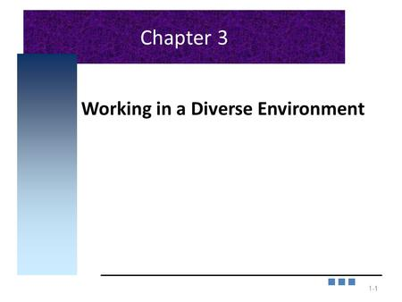 Chapter 3 Working in a Diverse Environment 1-1 1.