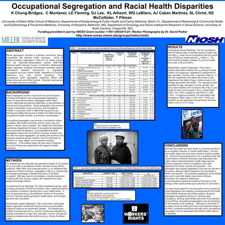 Occupational Segregation and Racial Health Disparities K Chung-Bridges, C Muntaner, LE Fleming, DJ Lee, KL Arheart, WG LeBlanc, AJ Caban Martinez, SL Christ,