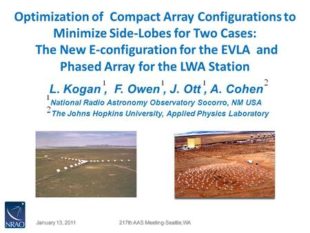 Optimization of Compact Array Configurations to Minimize Side-Lobes for Two Cases: The New E-configuration for the EVLA and Phased Array for the LWA Station.