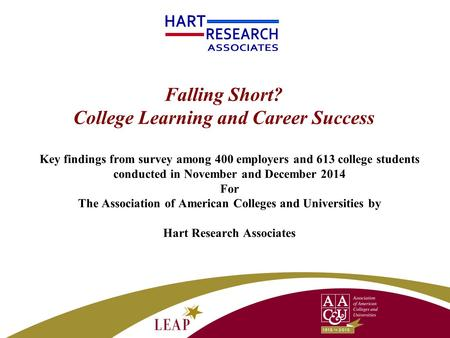 Falling Short? College Learning and Career Success