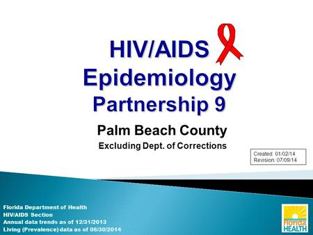 Palm Beach County Excluding Dept. of Corrections Florida Department of Health HIV/AIDS Section Annual data trends as of 12/31/2013 Living (Prevalence)