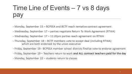 Time Line of Events – 7 vs 8 days pay - Monday, September 15 – BCPSEA and BCTF reach tentative contract agreement - Wednesday, September 17 – parties negotiate.