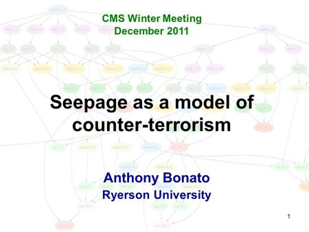 1 Seepage as a model of counter-terrorism Anthony Bonato Ryerson University CMS Winter Meeting December 2011.