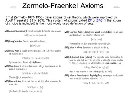 Zermelo-Fraenkel Axioms Ernst Zermelo (1871-1953) gave axioms of set theory, which were improved by Adolf Fraenkel (1891-1965). This system of axioms called.