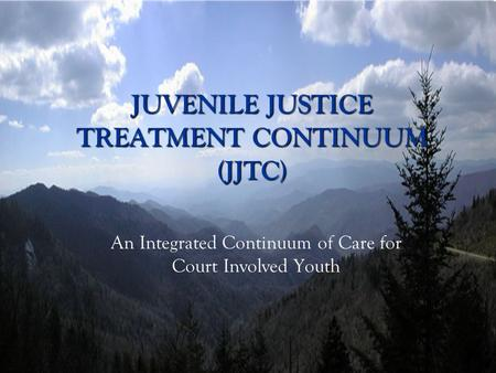JUVENILE JUSTICE TREATMENT CONTINUUM (JJTC) An Integrated Continuum of Care for Court Involved Youth.