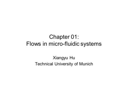 Chapter 01: Flows in micro-fluidic systems Xiangyu Hu Technical University of Munich.