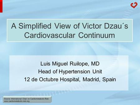 Source: International Chair on Cardiometabolic Risk www.cardiometabolic-risk.org A Simplified View of Victor Dzau´s Cardiovascular Continuum Luis Miguel.