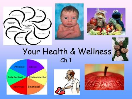 Your Health & Wellness Ch 1. Health: The combination of physical, mental/emotional, & social well being. ● It is not an absolute state. ● Health is ever.
