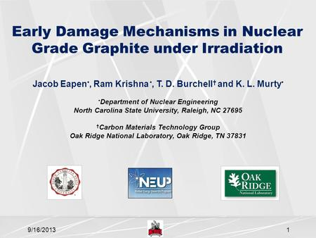 Early Damage Mechanisms in Nuclear Grade Graphite under Irradiation Jacob Eapen, Ram Krishna, T. D. Burchell † and K. L. Murty Department of Nuclear Engineering.