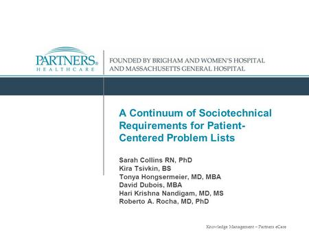 A Continuum of Sociotechnical Requirements for Patient- Centered Problem Lists Sarah Collins RN, PhD Kira Tsivkin, BS Tonya Hongsermeier, MD, MBA.