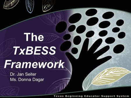 The TxBESS Framework Dr. Jan Seiter Ms. Donna Dagar.